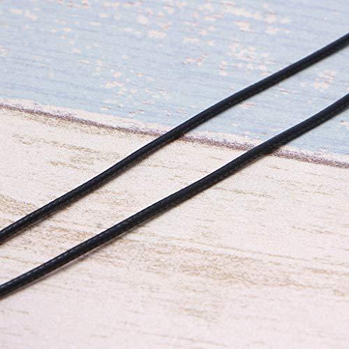 LessLIFE Collar de cordón de cuero de cera, cordón de cuero de seda negro collar de cadena de cuerda con cierre de pinza de langosta-50CM