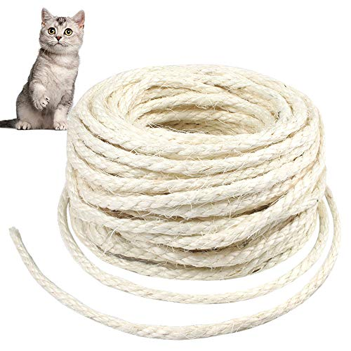 Cuerda de Sisal Gatos 6mm Cuerda de Sisal Natural 20 Metros, Poste Rascador Cuerda Sisal para Árboles de Gatos DIY Decoración de Artesanías