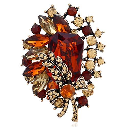 HUAAT -Europa y América del Diamante de Flores Broche de Navidad en Tres Dimensiones Retro Exquisito de la aleación Llena Broche de Diamantes de la joyería del Regalo del día de Navidad Broche Collar