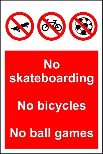 Geen skateboarden Geen fietsen Geen bal spelletjes teken - 3mm Aluminium bord 300mm x 200mm