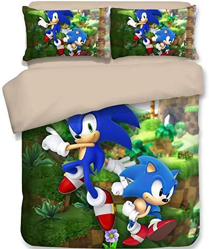 YOMOCO Sonic The Hedgehog - Juego de ropa de cama (3 piezas, 1 funda nórdica y 2 fundas de almohada (sin edredón) (A06,140 x 210 cm + 50 x 75 cm x 2)