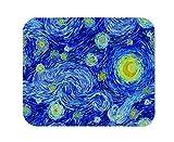 Yeuss Van Gogh, tappetino per mouse rettangolare antiscivolo, motivo: cielo stellato, luna luminosa e cielo stellato, sfondo astratto, impressionista stile pittura, colore: blu, giallo