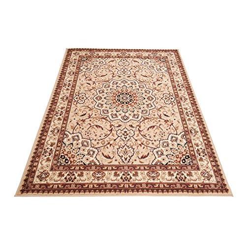 Orientteppich Teppich Klassisch Persisch Felis Rot-Creme Kurzflor Wohnzimmer