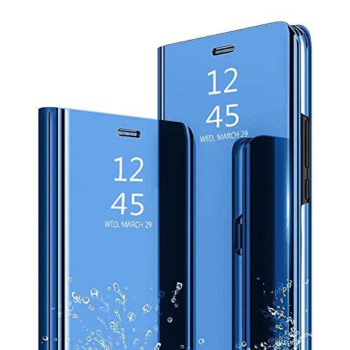 Ptny Flip Cuero Funda Compatibles Xiaomi Mi Mix 3 Carcasa, Vista Inteligente Protector de Pantalla Plegable Flip Ultra Delgado Translúcido Espejo Slim Fit Smart Bumper [Cielo Azul]