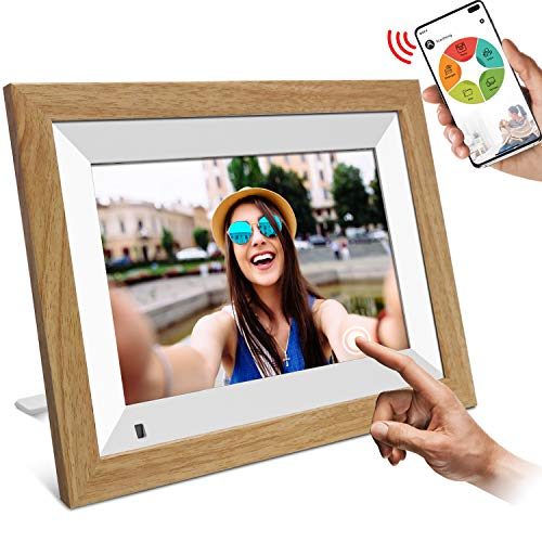 """WiFi Digitaler Bilderrahmen, YENOCK 10.1\"""" Touchscreen mit Bewegungssensor 1280 * 800 Eingebauter 16-GB-Speicher Porträt und Landschaft Sofortige der Foto- und Video Via App/Facebook/Twitter/E-Mail"""
