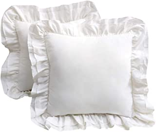 TEALP White Decorative Pillow Cover 18x18 with Shabby Ruffles, Set of 2