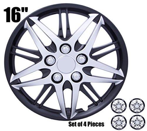 CAR+ 5080130 Black & Silver Black and Silver 16' Hub Cap, 4 Pack