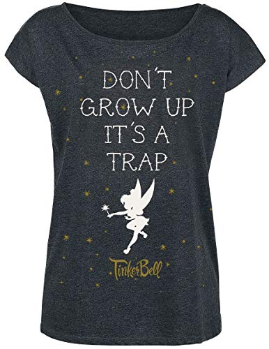 Peter PAN Tinker Bell - Don't Grow Up Frauen T-Shirt dunkelgrau meliert M