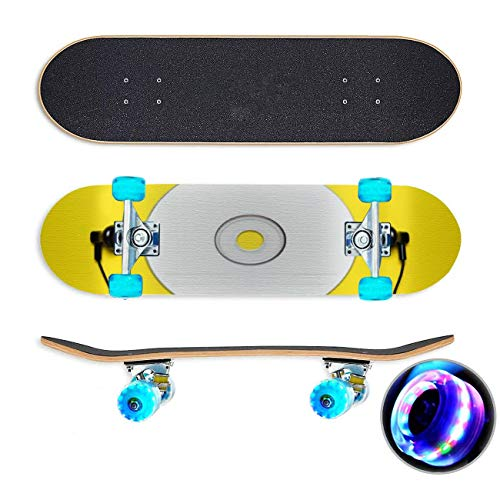 UYDBKSJABM Lege CD en hoofdtelefoon op gele achtergrond Stockbeeld Skateboard Colorful Flashing Wheels Extreme Sports&Outdoors 31''Cruiser Complete Standard Longboard Beginners Kids Cool Boys Teen