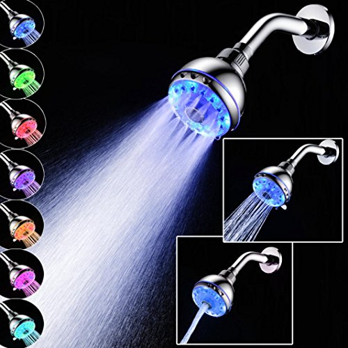Affordable Zeshlla Shower Head Filter LED Light Water Bath Bathroom Filtration Shower RGB 7 Colorful...