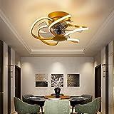 SOUTHSHINE Ventilador De Techo Moderno Regulable, Ventilador De Techo Silencioso Invisible LED con Control Remoto,Velocidad del Viento Ajustable,Utilizado En El Dormitorio,Sala De Estar Ø50cm,Oro