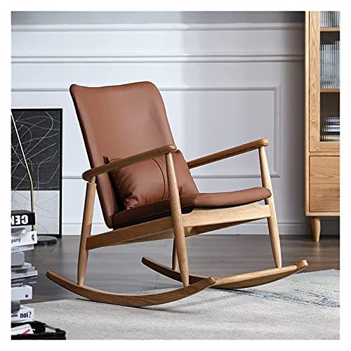 KUYH Silla mecedora del ocio, mecedora de madera maciza, silla perezosa de cuero de microfibra, silla del salón del balcón del dormitorio