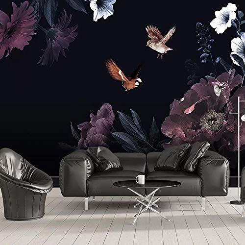 Custom 3D Fotobehang Muurschilderingen Moderne Zwarte Bloemen Bloem Wallpapers Voor Woonkamer Slaapkamer Hotel Achtergrond Decoratie Muurschildering-350x245cm(137.8by96.5in)
