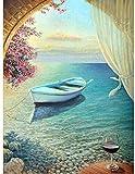 Pintura por números / kit de pintura al óleo / sin marco / lienzo de pintura preimpreso de lino para niños y principiantes - Barco de copa de vino floral rojo