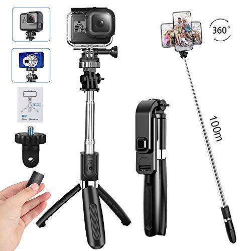CHUER Bluetooth Selfie Stick Stativ, (100cm) Handy Stativ Kamera Stativ, 3 in 1 Handy Stick mit Fernbedienung Verstellbare Selfie-Stange für iPhone/Galaxy/Huawei/XiaoMi, Go Pro und Digitalkamera
