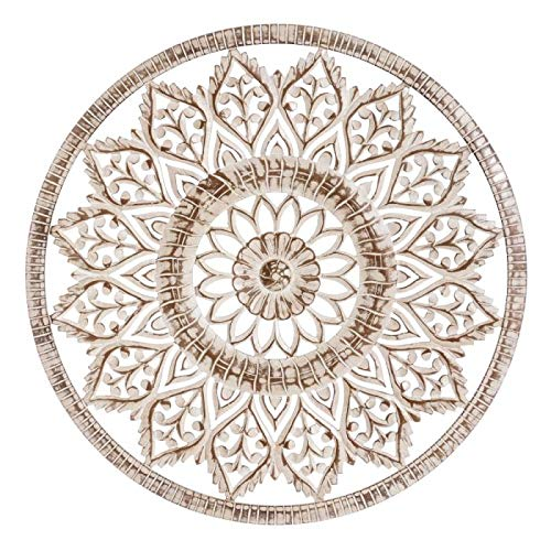 Ixia Mandala de Madera Pared Decorativo en Blanco Envejecido. 90 X 1,50 X 90 CM. Cabecero o salón- Nila Decoración.