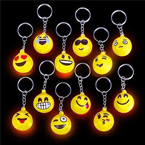 German Trendseller® - 6 x LED Emoji Mix┃ inkl. Anhänger ┃ Blinklicht ┃ Emoticons ┃ Mitgebsel ┃ Kindergeburtstag ┃ 6 Stück