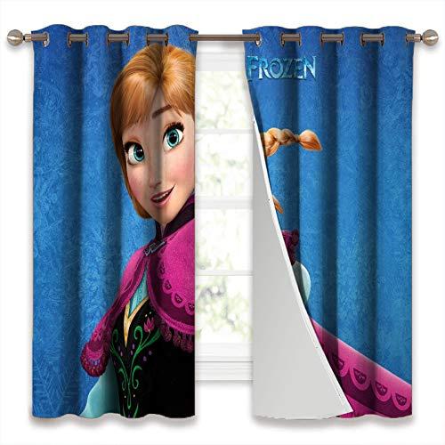 SSKJTC Cortinas opacas de doble capa con forro negro, películas de animación congeladas, pelirroja, ojos azules, princesa, Anna, habitación aislada, térmica, 140 x 100 cm