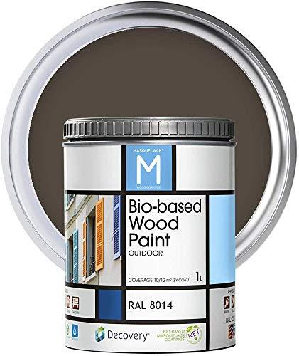 Pintura para Madera | Bio-based Wood Paint RAL 8014 | 1 L | Pintura Ecológica para Todo Tipo de Madera | Pintura Madera Exterior Semi Mate | Color Marrón