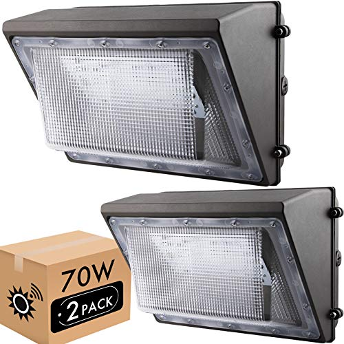 LIGHTDOT 70W LED Wall Pack Lights with Dusk to Dawn Photocell(2 Pack), 8000Lm 5000K Daylight IP65 Waterproof Wall Mount Outdoor Security Lighting Fixture