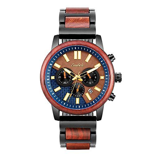Emibele Men's Watch, 3 Sub-dials Handmade Light Luminous Fashion Male Watch Stylish Wood & Stainless Steel Watch Date Chronograph Quartz Wrist Watch