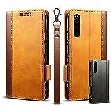 Shop B.M.K Xperia5 レザーケース SO-01M SOV41 カバー so01m エクスペリア5 手帳型 (Brown)