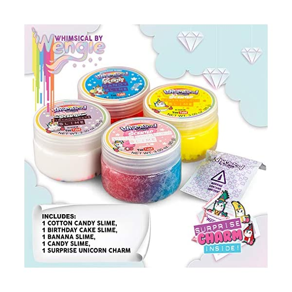 Wengie Whimsical Scented Slime Kit w/ Mystery Unicorn Charm - 4 Pack Glossy Fluffy Puffy Cloud Fruity Slime for Girls… 8