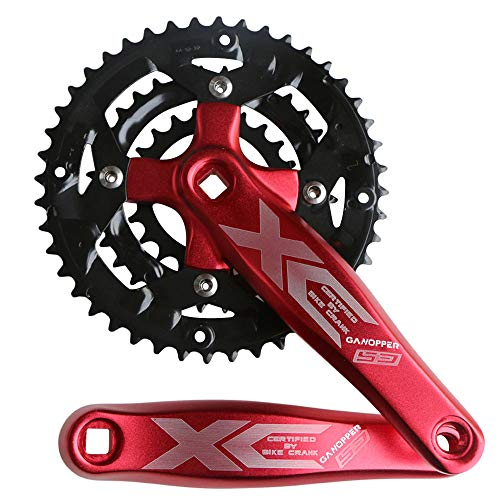 GANOPPER 9 Speed 44T 170mm Crank Arm Length MTB Mountain Bike Crankset Refit Square Taper Hole Single Speed Crank Set (Red)