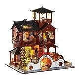 Adaskala Casa de muñecas en Miniatura Kit de casa de Bricolaje con Muebles LED Estilo Chino Kit de casa de muñecas de Madera Regalo de cumpleaños para Adultos Niños
