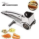 Zeerkeer - Rallador rotativo de queso ultra afilado de acero inoxidable para cocina, artesanía, rallador de queso, triturador y molinillo para queso parmesano, ajo, nueces, jengibre, zanahoria