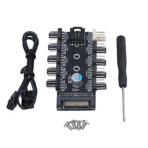 BQLZR 12V PWM DC contrôleur de ventilateur Châssis hub CPU Cooling Fan SATA d'entrée 10ports avec câble de PWM pour carte mère 3pin/4pin ventilateur