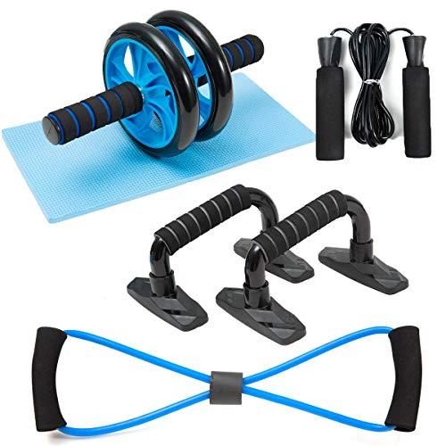 BIGTREE Entrenadores Abdominales Barras Push-UP Equipo expansor de Pecho Ejercicio en el hogar Fuerza Muscular Fitness Rueda Kit de Rodillos