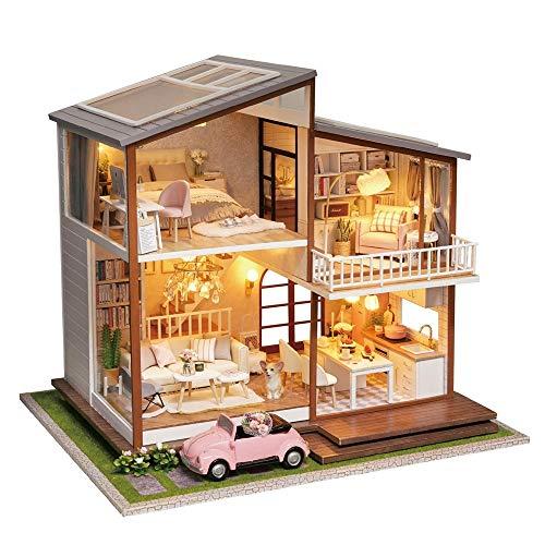 LERDBT Puppenstuben Construction Kit-Holz-Modellbau, Beste Geburtstags-Geschenke for Frauen und Mädchen beständiger gegen Staub (Color : Multi-Colored, Size : 34x28x21.5cm)