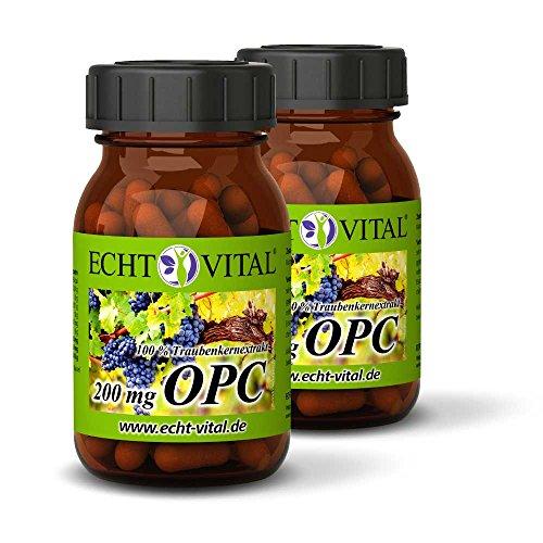 ECHT VITAL OPC Traubenkernextrakt | OPC aus Frankreich | 120 Kapseln OPC - 2 Gläser | 100% natürliches OPC | Je Kapsel 200 mg reines OPC (HPLC) | hochdosiert & Vegan