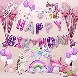 風船 誕生日バルーン 飾り付け ユニコーン 風船 セット Happy Birthday パーティー 豪華で大容量 女性 子供 少女のための誕生日バルーン誕生日装飾セット PartyUnion