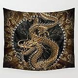 AdoDecor Dragon Tapisserie Wandbehang Teppich Tagesdecke Strandmatte Wandteppiche Kunst Wohnaccessoires 150x200CM