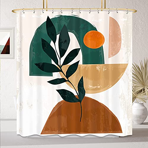 KOMLLEX Abstract Mid Century Shower Curtain for Bathroom 60Wx72H Inch Modern Aesthetic Geometric Plant Arch Bath Decor Abstract Sun Rainbow Curve Contemporary Fabric Waterproof Polyester 12 Pack Hooks