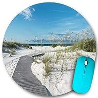 PATINISA ラウンドマウスパッド、手付かずのフロリダのビーチで真っ白な砂丘を通る小さな素朴な遊歩道の小道、PC ノートパソコン オフィス用 円形 デスクマット、ズされたゲーミングマウスパッド 滑り止め 耐久性が 200mmx200mm