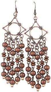 Long Wooden Tassel Earrings EVBEA Antique Copper Wood Bead Earrings for Women…