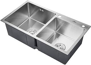 AuraLum Doppelbecken Küchenspüle 78��cm Edelstahlspüle 2 Becken Einbauspüle mit Bohrungen für Wasserhahn und Seifenspender, Spülbecken chrom