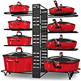 STORLUX Pot and Pan Organizer for Cabinet, Adjustable 8 Non-Slip Tiers Pot Organizer Rack with 3 DIY Methods, Kitchen Under Cabinet Organizer Rack for Pots and Pans, Black Steel Cookware Organizer