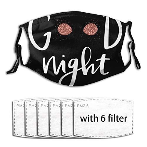 ZORMIEY Face Cover Handgeschriebenes Zitat Gute Nacht Geschlossene Augen Lange Wimpern Auf Schwarzem Hintergrund Wiederverwendbare Anti-Staub-Mund-Bandanas mit 6 Filtern