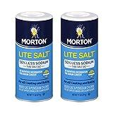 Morton Lite Salt, With Half The Sodium Of Table Salt, 11 oz (2pack)