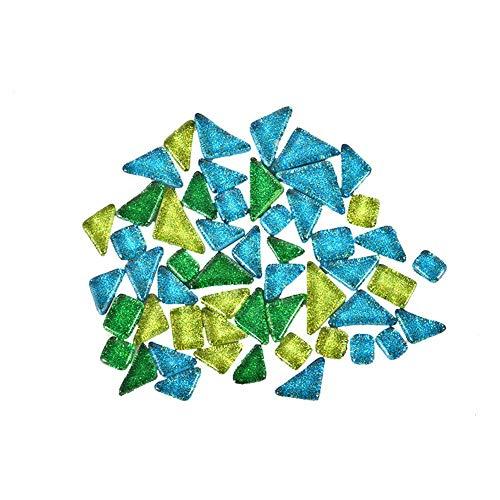 Earlyad Mosaiksteine gemischte Farbe Exquisite und einfache unregelmäßige Kunst DIY Kies Dekoration Art Glas Mosaik Fliese,Malachitgrün + Edelsteine Grün + Grasgrün