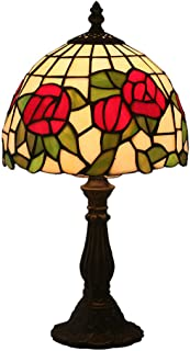 8 Inch Tiffany Style Table Lamp Multicolored Glass Modern Minimalist Red Rose Design Lampshade Suitable for Living Room Bedroom Dining Room Bathroom