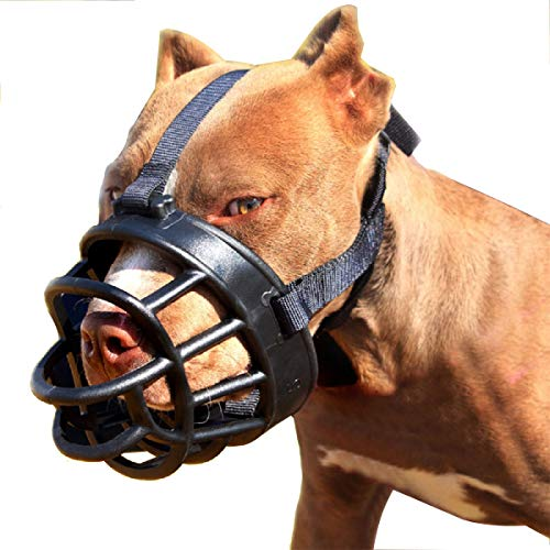 """onepet Dog Muzzle, Soft Basket Muzzle for Medium Large Dogs, Best to Prevent Biting, Chewing and Barking (L-(Snout 10-11""""), Black"""