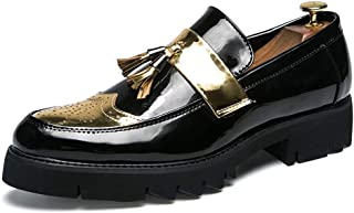 Shangruiqi Oxfords for Men Round Toe Business Casual Loafers Slip on Formal Fashion Dress Shoes Microfiber Upper Durable Abrasion Resistant Abrasion Resistant (Color : Gold, Size : 8 UK)