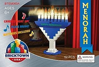 BRICKTOWN - Hanukkah Menorah with Lights and Music - Blue