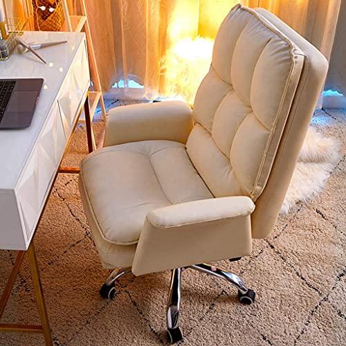 Sedia per computer per ufficio Casa Poltrona da ufficio per ufficio computer, cuoio bianco in pelle PU reclinabile per il tempo libero ergonomico, rotazione a 360 ° e altezza regolabile per il tempo l