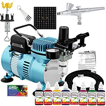 Master Airbrush Cool Runner II Dual Fan Air Compressor Custom Body Art System Kit with Gravity Feed Airbrush 8 Color Temporary Tattoo Airbrush Paint Set 100 Stencils Reusable Self-Adhesive Designs